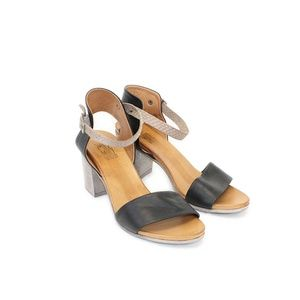 Miz Mooz Black Leather Strap Heeled Sandals